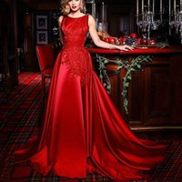 Noble Red Evening Dresses Jewel Sleeveless A-Line With Applique Sleeves Prom Gowns Back Zipper Custom Made Sweep Train Formal Party Gowns