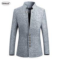 Мужские куртки Ywsrlm Blazer Men 2021 Весна Осень Китайский Стиль Бизнес Повседневная Стенд Воротник Мужской Slim Fit Мужская Куртка Размер M-5XL