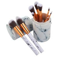 Лучшие новые горячие продажи 10 шт. мрамор макияж кисти профессиональные кисти для макияжа Фонд BB крем Hiqh качество с PU ведро бесплатная DHL