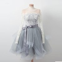 2018 Long Sleeve Sheer Neck Short Party Dresses Lace Top Tulle Homecoming Piping Ribbons Dress Zipper Back Cocktail Dresses