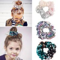12 estilos Sereia Reversível Sequin Sequin Hairband Crianças Princesa Laço de Cabelo Charme Scrunchie Rabo de Cabelo Acessórios 60pcs T1G112