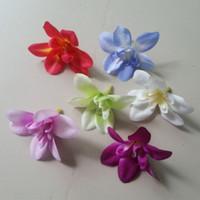 100 stks kleurrijke kunstbloem hoofd nieuwe stijlen kunstmatige orchidee zijde ambachtelijke bloemen voor bruiloft kerst kamer decoratie