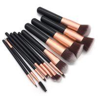 Cepillo de maquillaje de madera de 12 piezas Premium 12 piezas Cosméticos Pinceles de maquillaje Polvos de maquillaje Sombras de ojos Delineador de ojos Mezcla Máscara de maquillaje