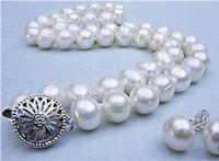 """Подробности около 8-9 мм настоящие натуральные белые акоя культивированные жемчужные ожерелье серьги набор 18 """""""