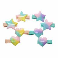 Venta caliente hermosa pinzas de pelo de acrílico gradiente de cinco puntas starheart forma brillo cielo barrettes horquillas ornamento del pelo para niñas