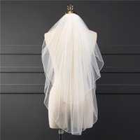 Two Tiers Short Elbow Length White Ivory Wedding Bridal Veil...