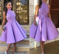 Lavender High Neck Homecoming Dresses With Lace Applique A-Line Sleeveless Prom Gowns Back Zipper Custom Made Mid-Calf Party Dresses