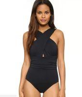 Senhoras Sexy Cruz Halter Mulheres Swimwear One Piece Swimsuit Sólidos Trajes de Banho Desgaste Da Praia Frete Grátis