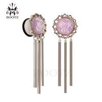 Bouchons d'oreille en acier inoxydable argent opale fausse mode chaud balancent tunnels oreille oreille évasée unique jauges paire vente