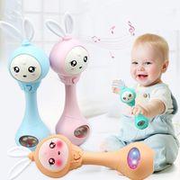 الطفل اليد الدلايات أجراس 4 لون التعليم اللعب لغز الموسيقى والضوء يهز خشخيشات إيقاع الحث الطفل اللعب