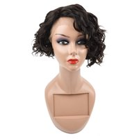 Short Wigs Curly Hair Brazilian Hair Lace Front Wigs Human H...