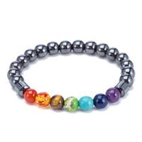 Natürliche schwarze Stein Perle Strangs Charme 7 Reiki Chakra Heilung Balance Armbänder Für Frauen Männer Schmuck