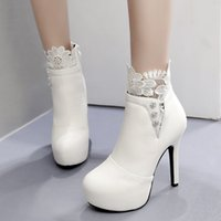 Sexy black white lace rhinestone high heel ankle boots winte...