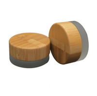 2018 popular 5 ml frasco de vidro fosco com tampa de bambu cera recipiente de creme cosmético 5g recipiente de armazenamento LX2409