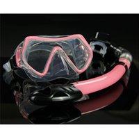 Inmersiones en aguas deporte profesional Gafas de hombres y de mujeres de la nadada del tubo respirador adulto buceo con tubo de snorkel Monoaleta que nadan los vidrios máscara del salto