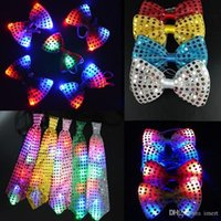 Flashing Light Up Bow Tie Necktie LED Mens Party Lights Sequ...