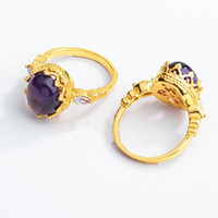 Exquisite Luxury 18K Gold Plated Created Amethyst Crown Ring...