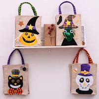 Bolso de calabaza de Halloween Fiesta de disfraces de niños Lino de totalizador Trofeo de Halloween o bolsa de golosinas Bolsa de caramelos de Halloween Bolsa de regalo para niños