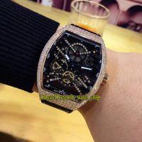 Высокое качество V 45 S6 SQT NR BR (NR) Черный скелет для скелета Rose Gold Diamond Case Автомагнитные Мужские Часы Кожаный Ремешок Часы