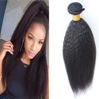 Yuntian 100g 1pcs kinky rakt hår brasilianska hårväv buntar grova yaki 100% mänskligt hår buntar naturlig färg