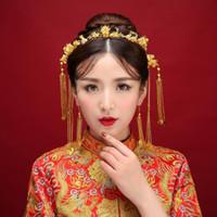 2018 yeni Çinli gelin headdress kostüm püskül Kronet suit