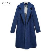 OEAK зима сгущает женщин длинное пальто из искусственного меха куртки плюшевый медведь кардиган пальто плюс размер женский ягненка шерсть пиджаки abrigo mujer