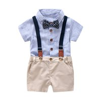 6113df956 Baby Boy Gentleman Clothes Set Summer Suit para Kid Kid Kid Party formal  Bow Body Set 0-24 Month Baby Boy Striped Clothing