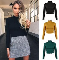 Women' s autumn new knit solid color high collar long- sl...
