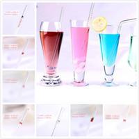 Transparente grueso vidrio pajas de beber fiesta de cumpleaños de la boda bebida jugo leche té vidrio tubo de succión a prueba de calor herramientas de la barra