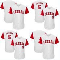 # 5 Freddie Freeman Selección Masculina de Canadá 2017 Clásico Mundial de Béisbol todo el cosido Freddie Freeman alta calidad Jersey de béisbol