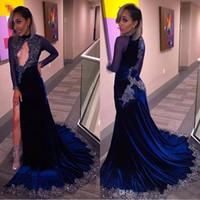 Arabo Royal Blue Sheer maniche lunghe abito da sera aperto anteriore lungo sirena vestito da promenade gamba divisa paillettes formale abiti da ballo del partito nuovo