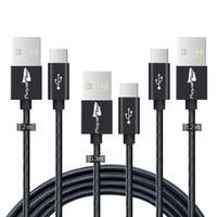 كابلات USB من النوع C ، 3 حزم (0.3 متر ، 1.2 متر ، 2 متر) USB C إلى USB شاحن سريع نايلون برايد سينك لجهاز سامسونج جالاكسي S9 S8 نوت 8 ، LG V20 MC-008