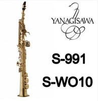 جديد وصول ياناجيساوا S-991 S-WO10 مطلية بالذهب ساكسفون سوبرانو ب (ب) لحن ب شقة ساكس النحاس أداة مع حالة المعبرة