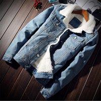 Herren Winterjacke und Mantel Trendy warme Fleece-Jeansjacke Mode-Männer Jean Outwear Männlich Cowboy Plus Size 5XL