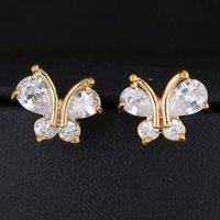Luxo Doce animal bonito borboleta Brincos coreano Mulheres Moda Zircon Cristal brincos banhado a ouro Vintage Jóias boucle d'oreille