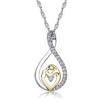 c858a4b68dfd Venta al por mayor regalo de amor oro plata collares de cristal de circonio  colgante encanto cadena de plata collares joyería para mujeres mamá regalo  de ...