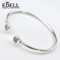EDELL Authentische 925 Sterling Silber Armreif Signatur Mit Kristall Offenes Armband Armreif Fit Stil Perle Charme DIY Schmuck