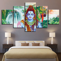 Dipinti su tela Living Room Decor Wall Art 5 pezzi India Dio Shiva Poster HD Prints Abstract Waterfall Scenery Pictures Framed