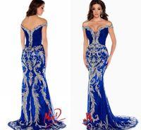 Royal Blue Pageant Kleider Wunderschöne Schulterkristallperlen Mermaid Prom Kleider Formale Abendkleider Frauen Formale Kleider DH1551