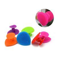 Yumuşak Silikon Yüz Banyo Fırça Bebek Yıkama Fırçaları Silika Jel Masaj Temizleme Fırçası Parmak Tutucu ile Peeling Vücut Araçları Şeker Renk