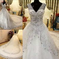 Elegant White Tulle Wedding Dresses V- Neck Sleeveless Beaded...