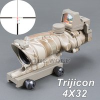 Trijicon ACOG 4X32 Style Fiber Source Red Illuminated (реальное красное волокно) Объем с RMR Micro Red Dot Sight Python камуфляж