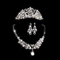 Bridal crown jewelry set of three wedding necklace earrings ...
