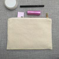 Blank Canvas Makeup Bag Natural Canvas Kosmetisk väska 100% Bomull Grå Toalettsaker Bag Stora Travel Makeup Case Light Pink Bridesmaids Presentpåse