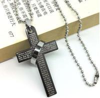 Hot estilo da cruz da Bíblia anel anel de titânio de aço colar de aço inoxidável dos homens colar dos homens casal colar de moda clássico delica