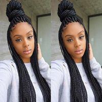Новый Hotselling Spirs Synthetic Lace Front Fright Box Плетеный парик Синтетические Длинные Черные Парики оплетки с Детские Волосы для Черных Женщин