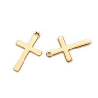 50PCS 12 * 20MM الفولاذ المقاوم للصدأ الصلبان سحر صالح قلادة الصليب العائمة سحر قلادة اليدوية DIY صنع المجوهرات