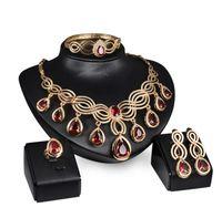 Roter Kristall Schmuck Sets Halskette Ohrringe Vergoldet Afrikanische Partei Schmuck arabische Hochzeitsgeschenke / Äthiopischer neues Schmuck