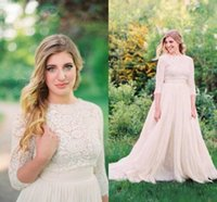 Modest Lace A Line Country Wedding Dresses Crew 3 4 Long Sle...