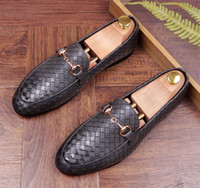 2018 Fashion Studded Men' s Casual Loafers black blue Dr...